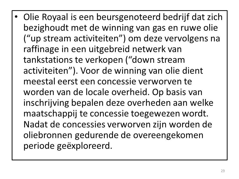 Olie Royaal is een beursgenoteerd bedrijf dat zich bezighoudt met de winning van gas en ruwe olie ( up stream activiteiten ) om deze vervolgens na raffinage in een uitgebreid netwerk van tankstations te verkopen ( down stream activiteiten ).