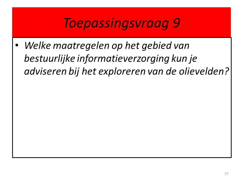 Toepassingsvraag 9 Welke maatregelen op het gebied van bestuurlijke informatieverzorging kun je adviseren bij het exploreren van de olievelden