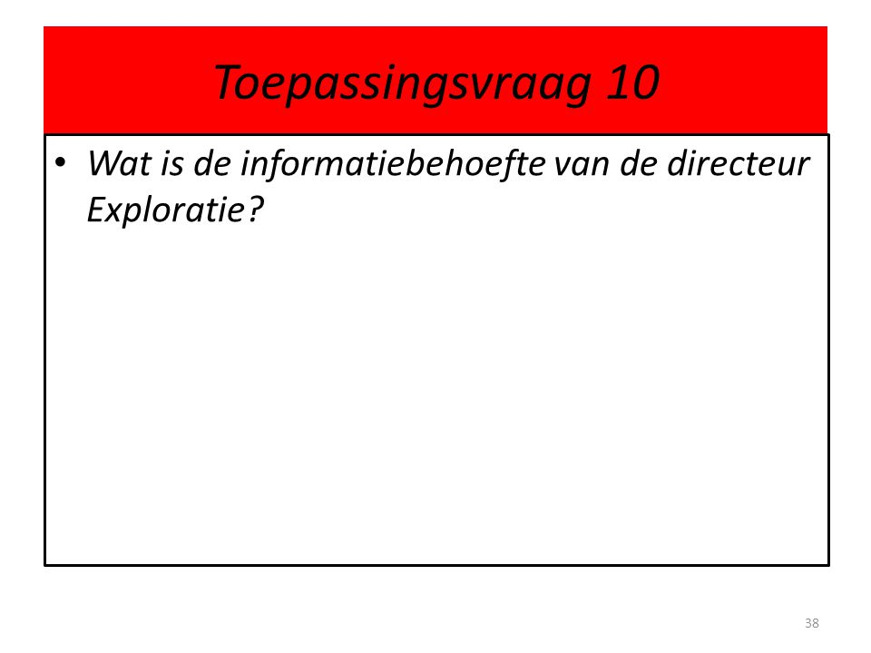 Toepassingsvraag 10 Wat is de informatiebehoefte van de directeur Exploratie