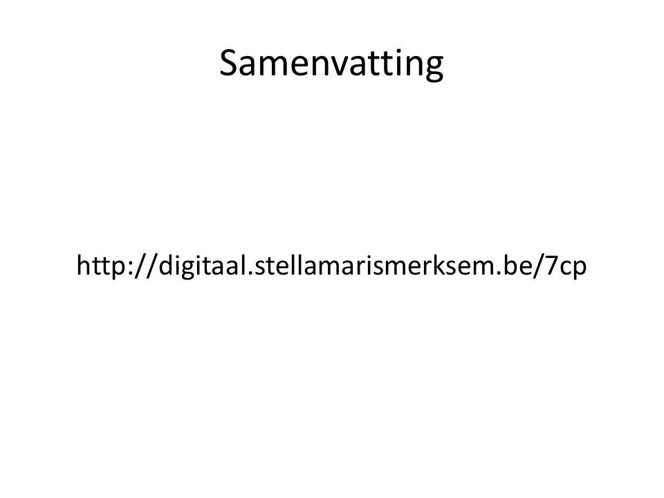 Samenvatting http://digitaal.stellamarismerksem.be/7cp