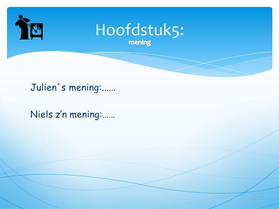 Hoofdstuk5: mening Julien´s mening:...... Niels z'n mening:……