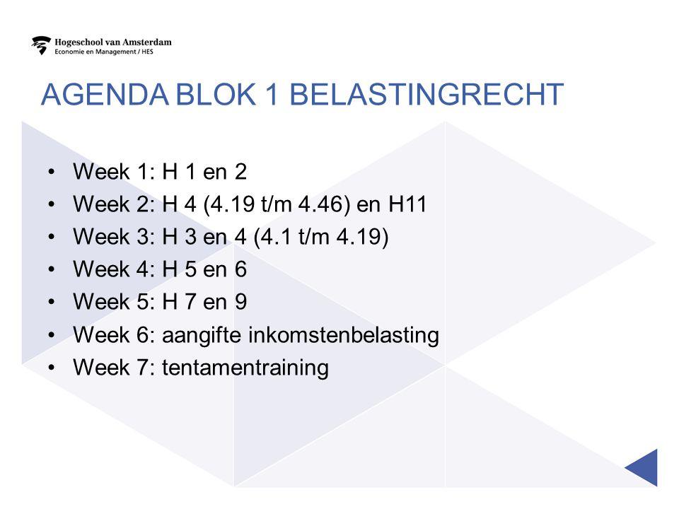 Agenda blok 1 belastingrecht