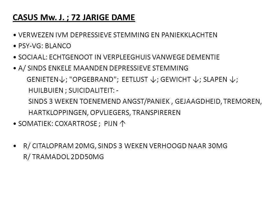 CASUS Mw. J. ; 72 JARIGE DAME • VERWEZEN IVM DEPRESSIEVE STEMMING EN PANIEKKLACHTEN. • PSY-VG: BLANCO.