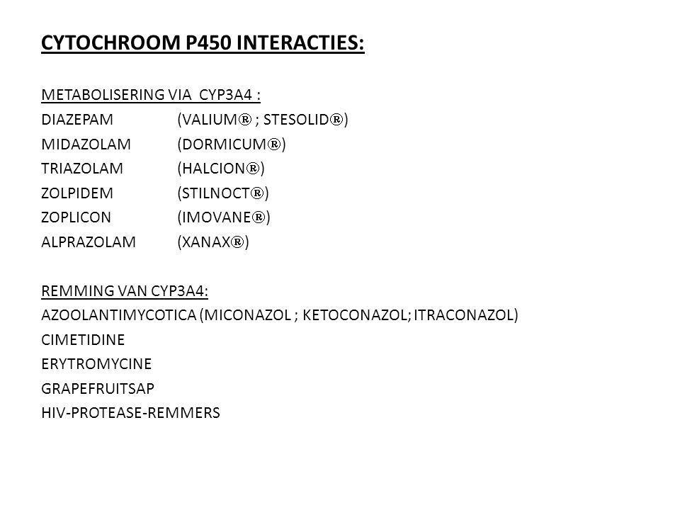CYTOCHROOM P450 INTERACTIES: