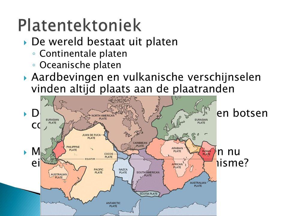 Platentektoniek De wereld bestaat uit platen