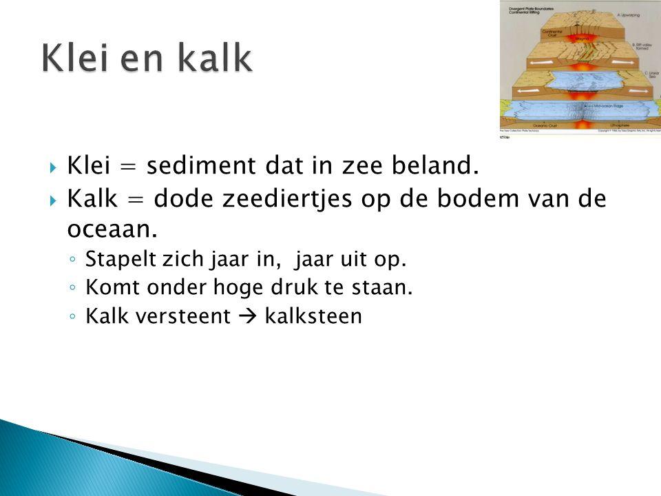 Klei en kalk Klei = sediment dat in zee beland.