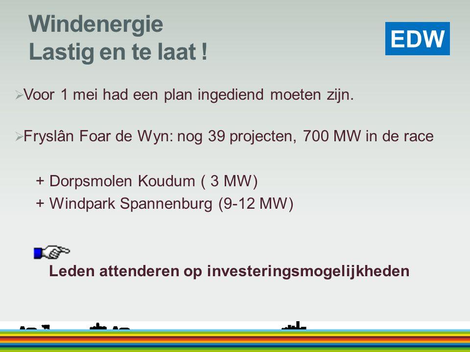 Windenergie Lastig en te laat !