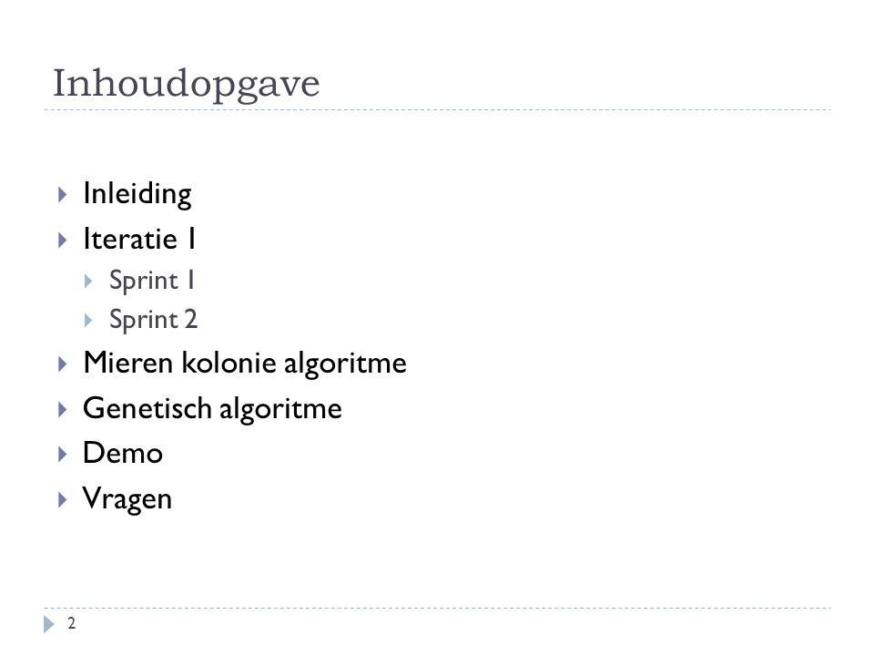 Inhoudopgave Inleiding Iteratie 1 Mieren kolonie algoritme