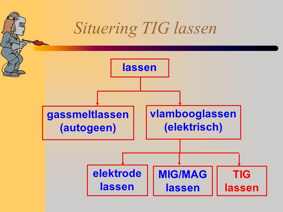 Situering TIG lassen lassen gassmeltlassen (autogeen) vlambooglassen