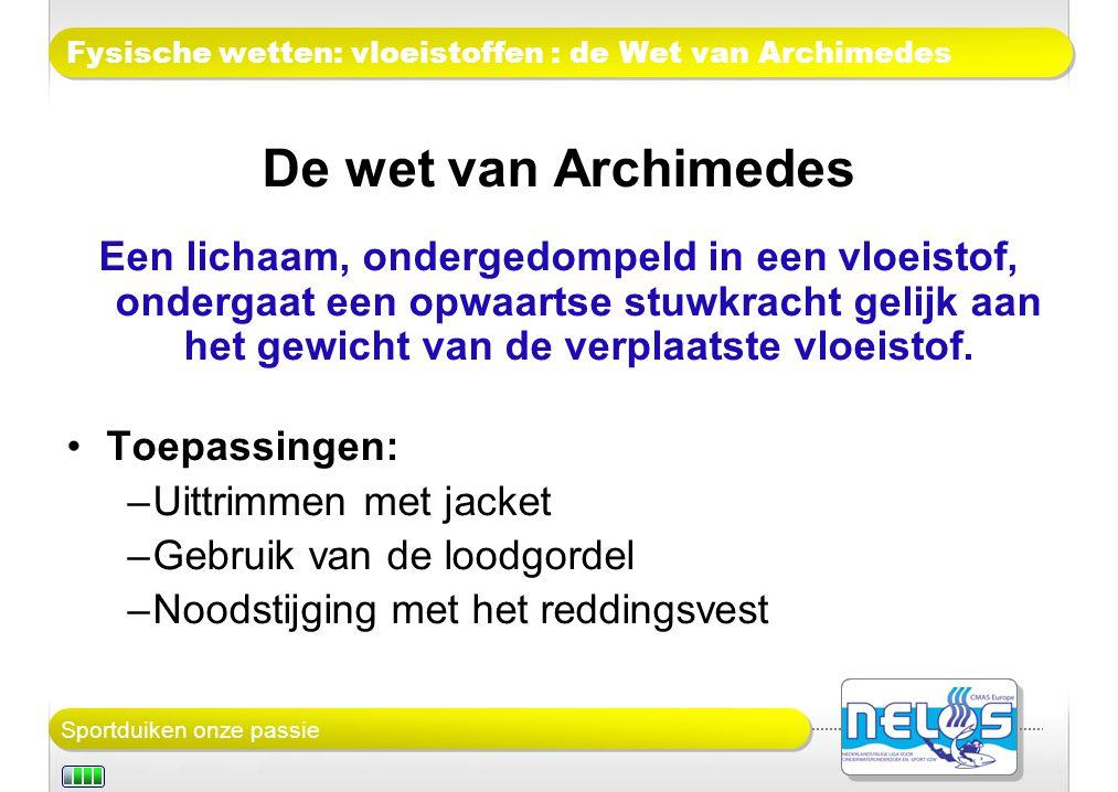 Fysische wetten: vloeistoffen : de Wet van Archimedes