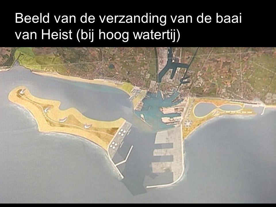 Beeld van de verzanding van de baai van Heist (bij hoog watertij)