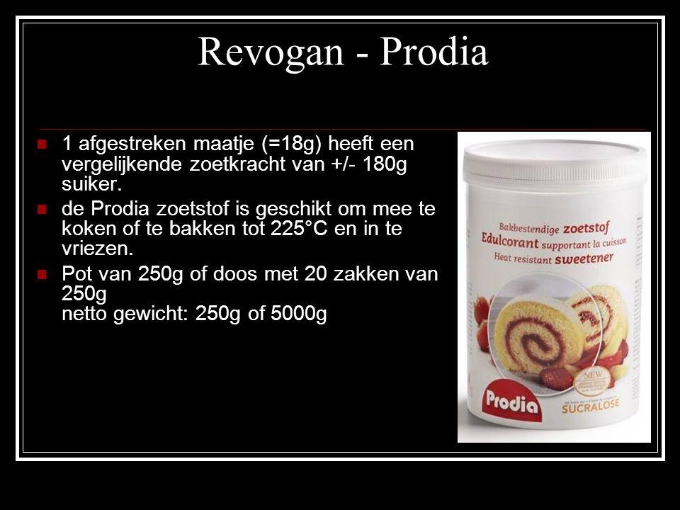 Revogan - Prodia 1 afgestreken maatje (=18g) heeft een vergelijkende zoetkracht van +/- 180g suiker.