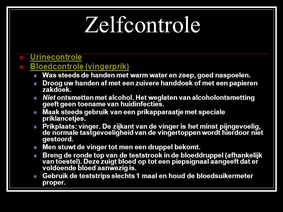 Zelfcontrole Urinecontrole Bloedcontrole (vingerprik)