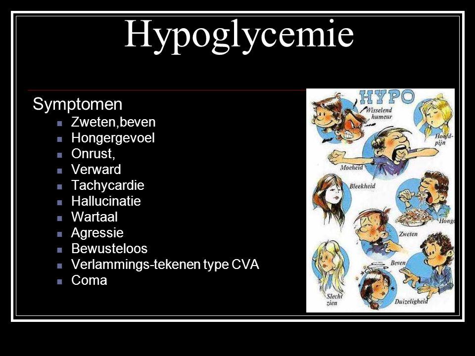 Hypoglycemie Symptomen Zweten,beven Hongergevoel Onrust, Verward