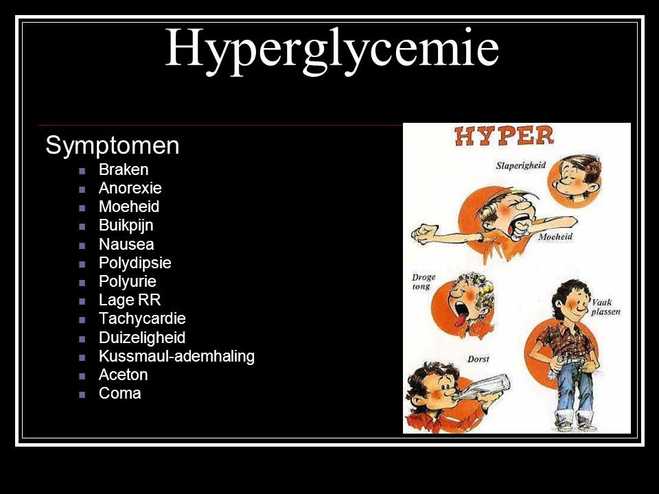 Hyperglycemie Symptomen Braken Anorexie Moeheid Buikpijn Nausea