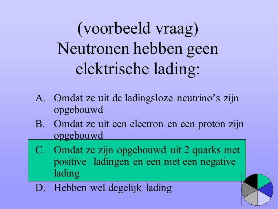 (voorbeeld vraag) Neutronen hebben geen elektrische lading:
