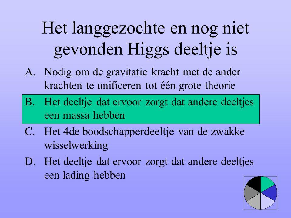Het langgezochte en nog niet gevonden Higgs deeltje is