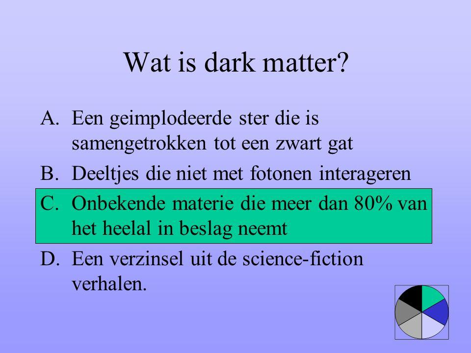 Wat is dark matter Een geimplodeerde ster die is samengetrokken tot een zwart gat. Deeltjes die niet met fotonen interageren.