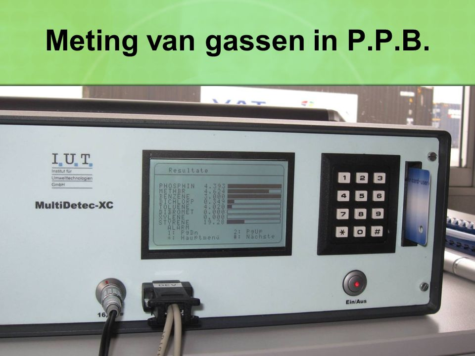 Meting van gassen in P.P.B.