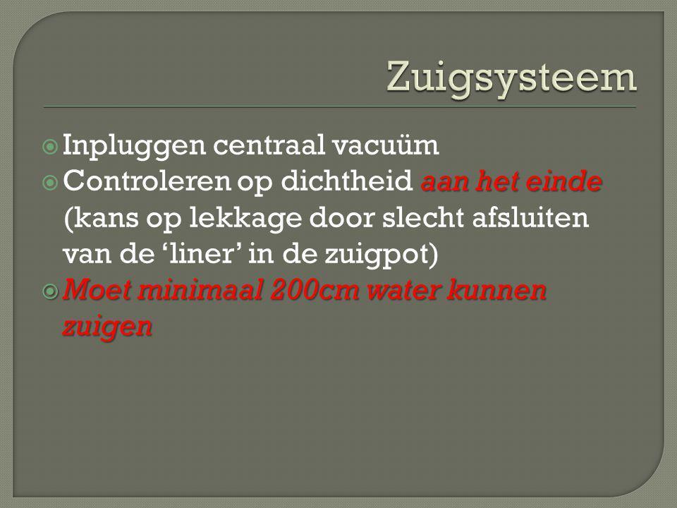 Zuigsysteem Inpluggen centraal vacuüm