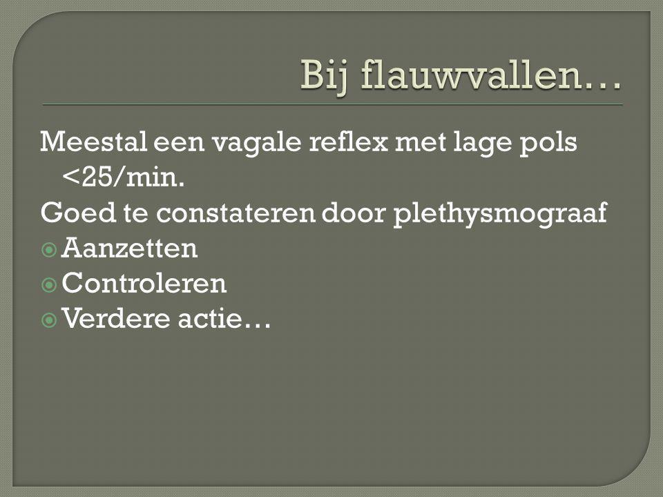 Bij flauwvallen… Meestal een vagale reflex met lage pols <25/min.
