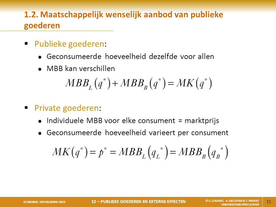 1.2. Maatschappelijk wenselijk aanbod van publieke goederen