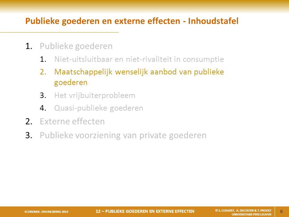 Publieke goederen en externe effecten - Inhoudstafel