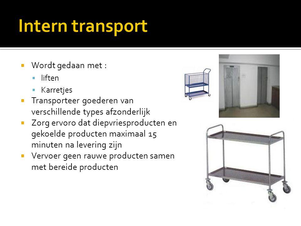 Intern transport Wordt gedaan met :