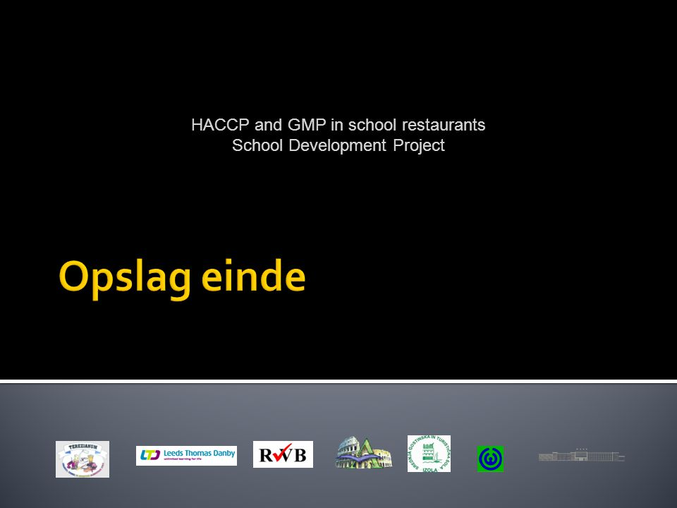 Opslag einde HACCP and GMP in school restaurants