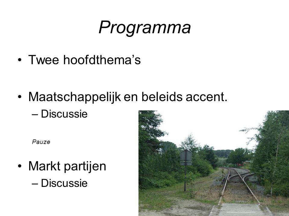 Programma Twee hoofdthema's Maatschappelijk en beleids accent.