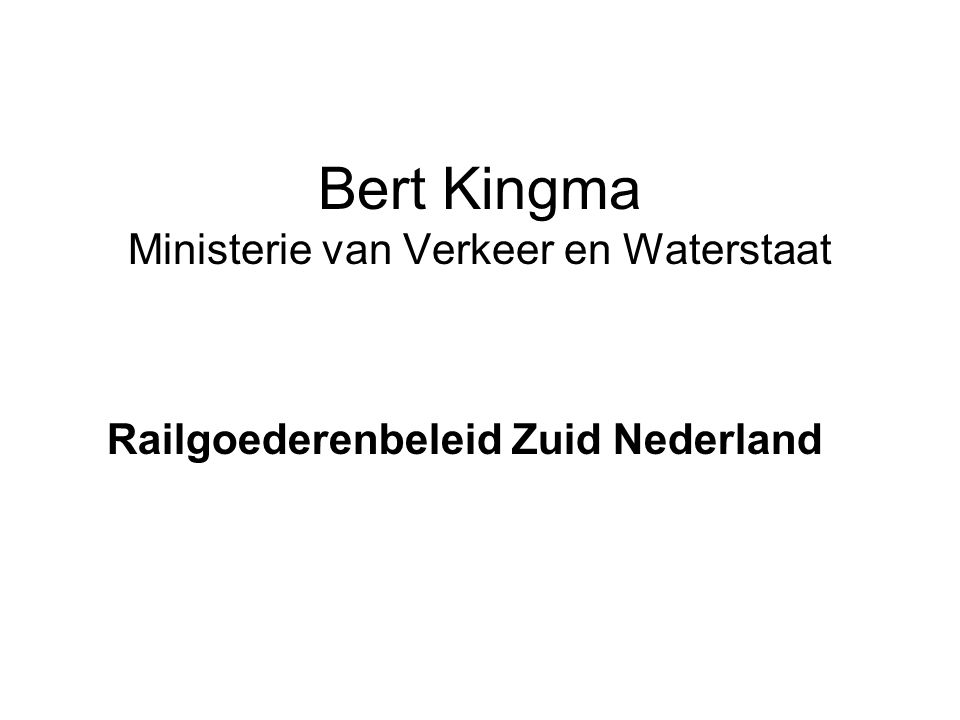 Bert Kingma Ministerie van Verkeer en Waterstaat