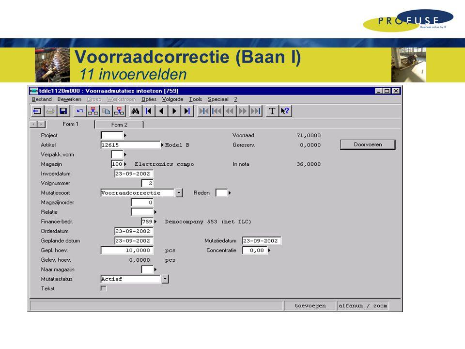 Voorraadcorrectie (Baan I)