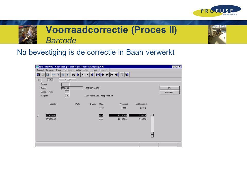 Voorraadcorrectie (Proces II) Barcode