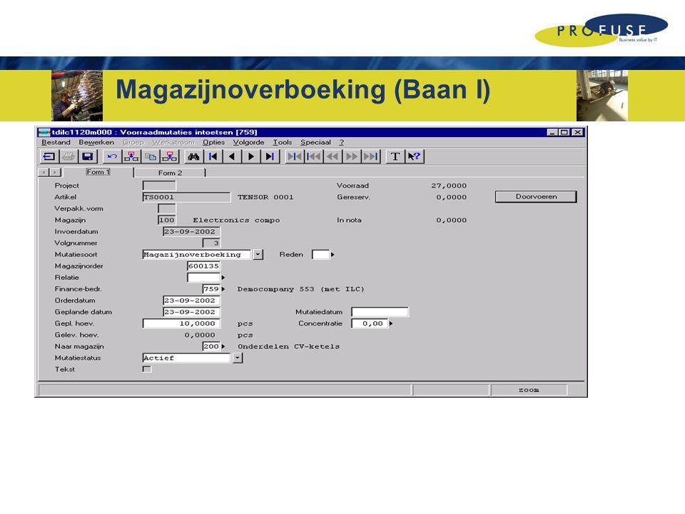 Magazijnoverboeking (Baan I)