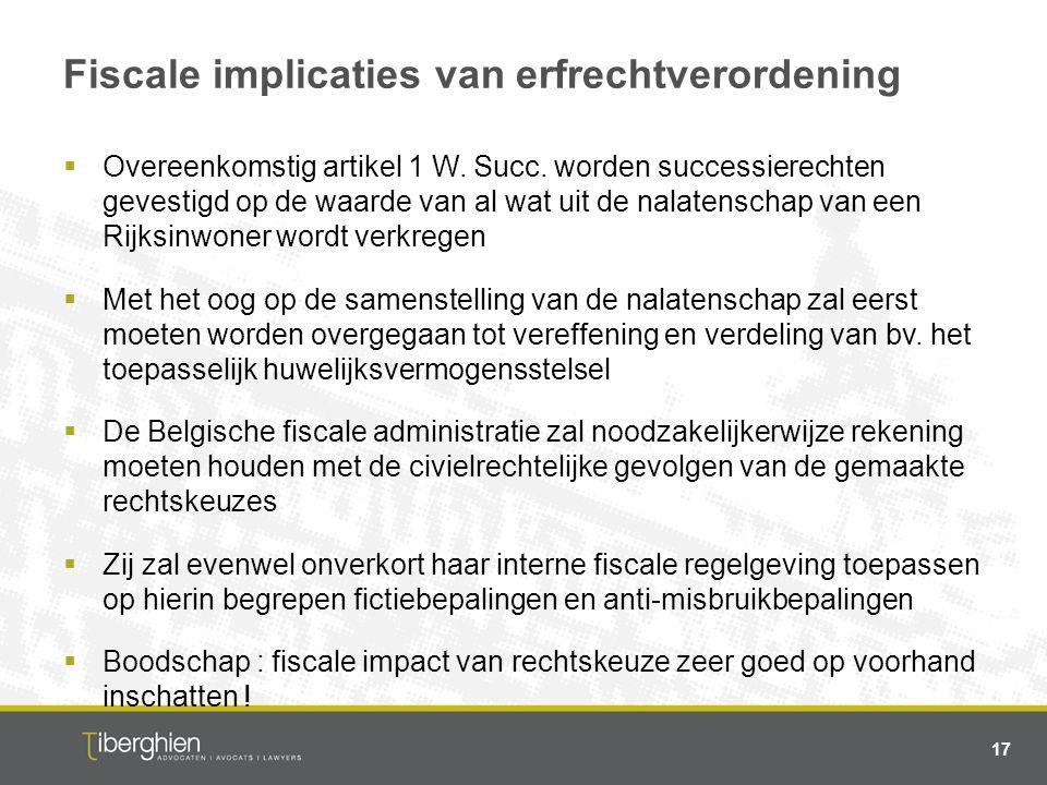 Fiscale implicaties van erfrechtverordening