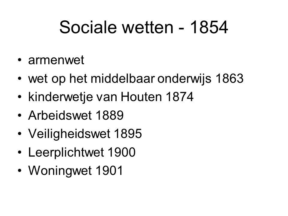 Sociale wetten - 1854 armenwet wet op het middelbaar onderwijs 1863