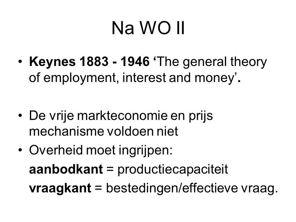 Na WO II Keynes 1883 - 1946 'The general theory of employment, interest and money'. De vrije markteconomie en prijs mechanisme voldoen niet.