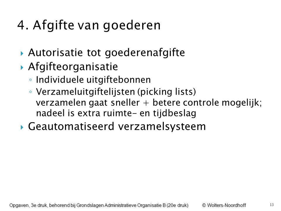 4. Afgifte van goederen Autorisatie tot goederenafgifte