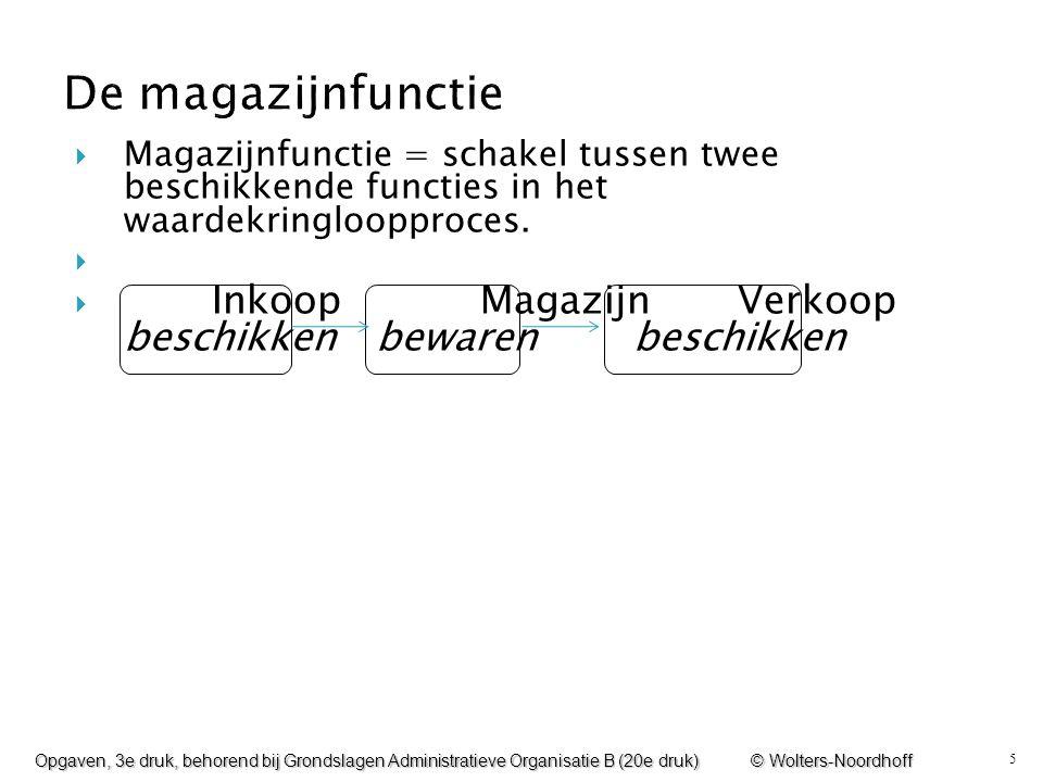 De magazijnfunctie Magazijnfunctie = schakel tussen twee beschikkende functies in het waardekringloopproces.