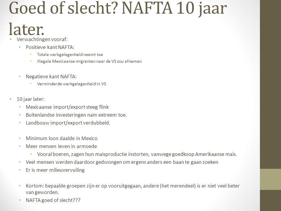 Goed of slecht NAFTA 10 jaar later.