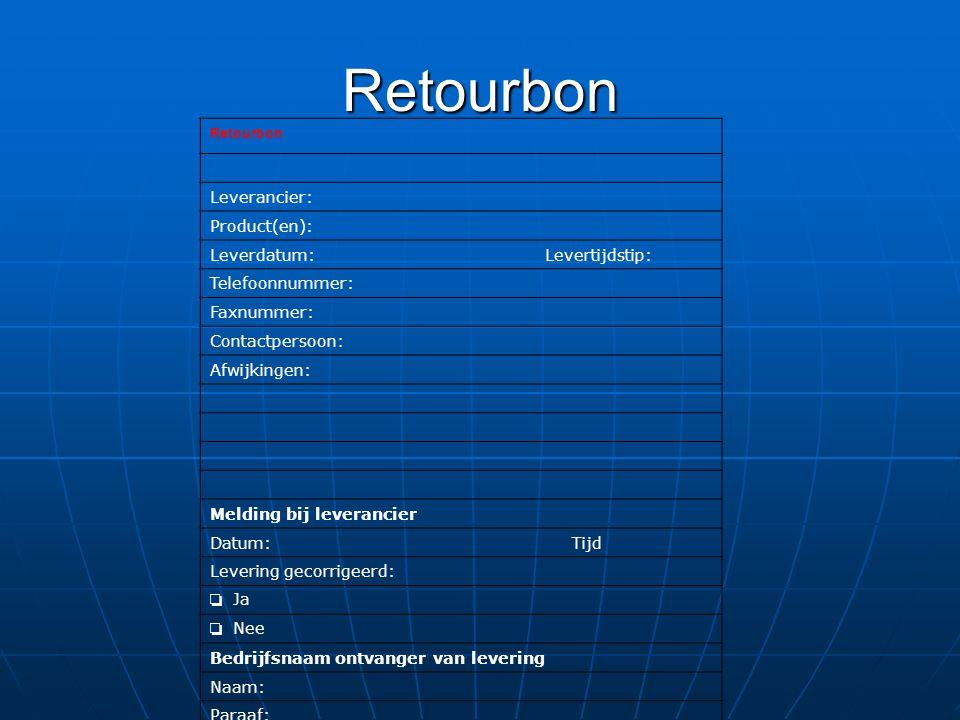 Retourbon Retourbon Leverancier: Product(en):