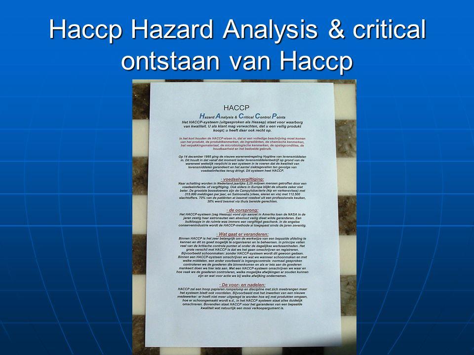 Haccp Hazard Analysis & critical ontstaan van Haccp