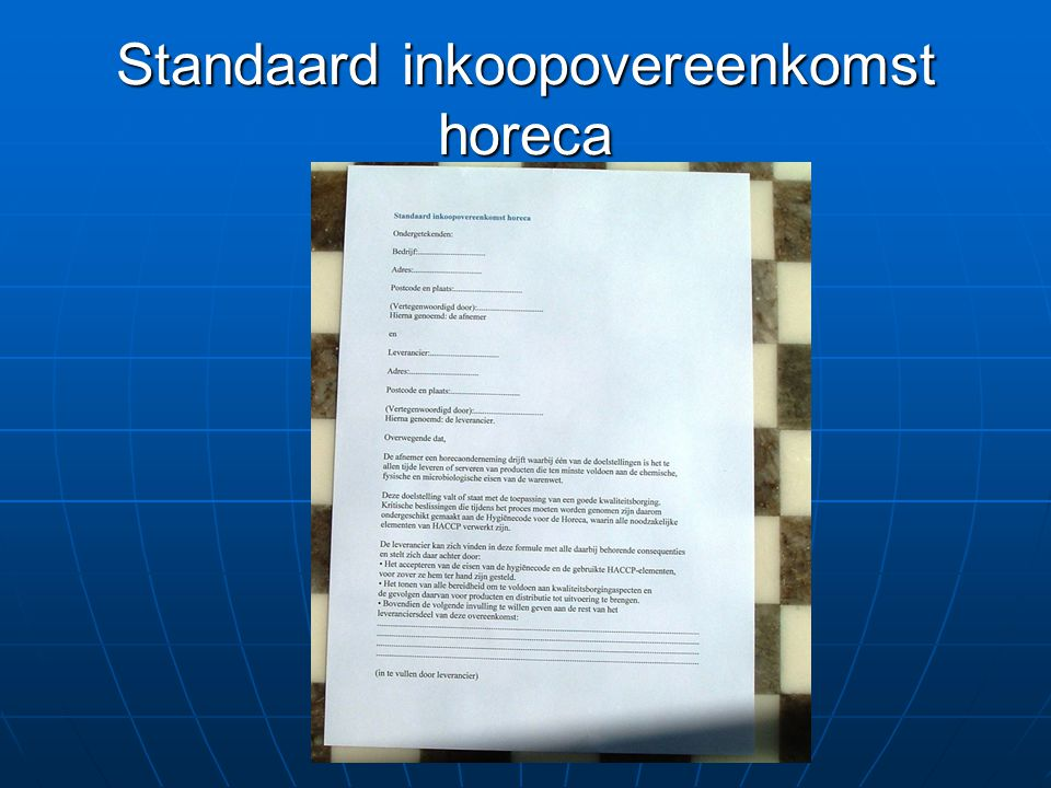 Standaard inkoopovereenkomst horeca