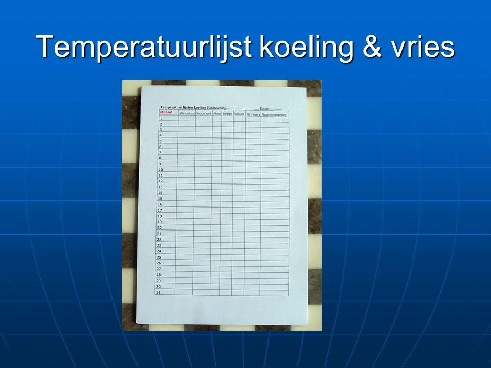 Temperatuurlijst koeling & vries