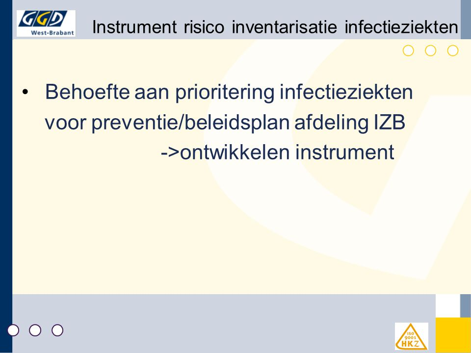 Instrument risico inventarisatie infectieziekten