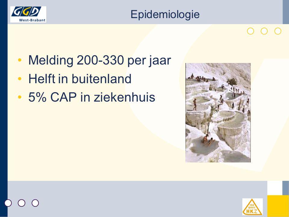 Melding 200-330 per jaar Helft in buitenland 5% CAP in ziekenhuis