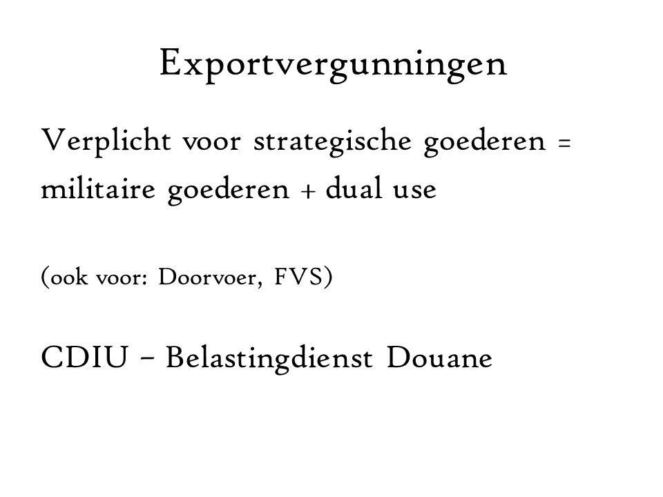 Exportvergunningen Verplicht voor strategische goederen =