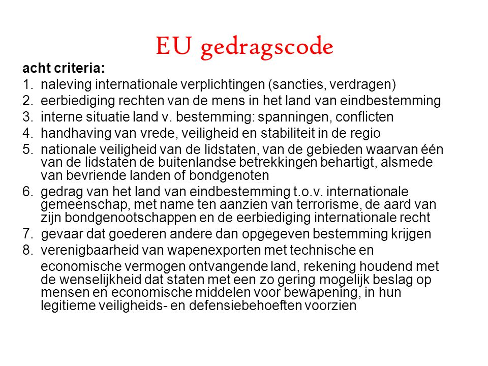 EU gedragscode acht criteria: