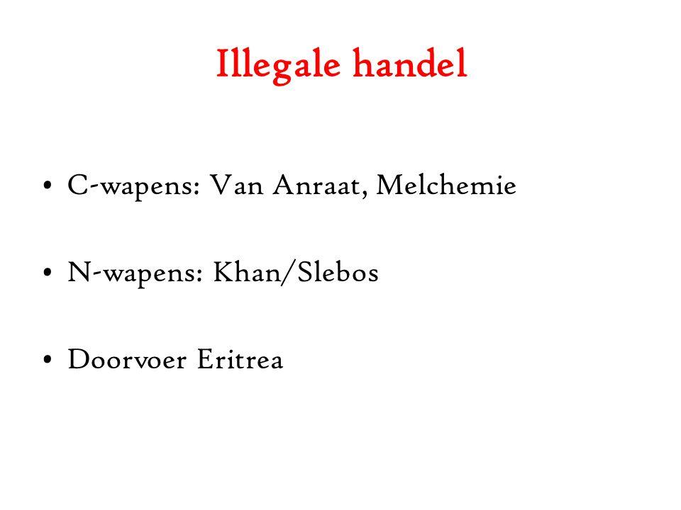 Illegale handel C-wapens: Van Anraat, Melchemie N-wapens: Khan/Slebos