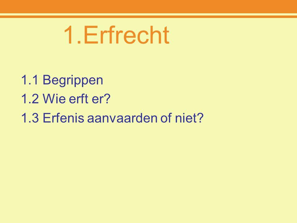 Erfrecht 1.1 Begrippen 1.2 Wie erft er 1.3 Erfenis aanvaarden of niet